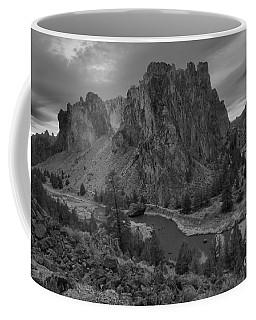 Stormy Skies Over Smith Rock - Black And White Coffee Mug