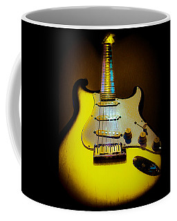 Coffee Mug featuring the digital art Stratocaster Lemon Burst Glow Neck Series by Guitar Wacky