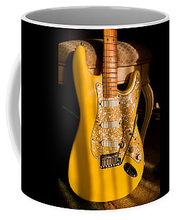 Coffee Mug featuring the digital art Stratocaster Plus In Graffiti Yellow by Guitar Wacky