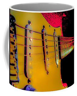 Coffee Mug featuring the photograph Guitar Pop Art Hot Rasberry Fire Neck Series by Guitar Wacky