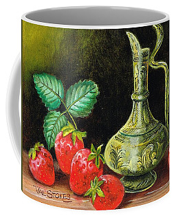 Coffee Mug featuring the painting Strawberries--brass Vase by Val Stokes