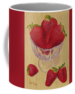 Coffee Mug featuring the painting Strawberries In Crystal Dish by Nancy Nale