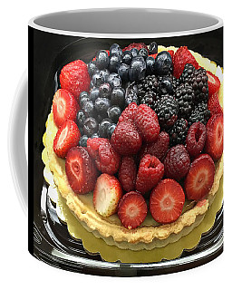 Coffee Mug featuring the photograph Strawberries Rasberries Luscious Dessert Fruit Pie With Red Bow  by Kathy Fornal