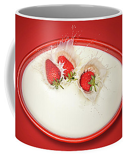 Strawberries Splashing In Milk Coffee Mug