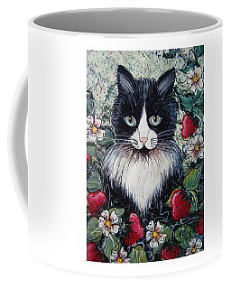 Strawberry Lover Cat Coffee Mug by Natalie Holland