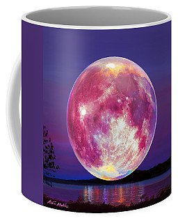 Coffee Mug featuring the painting Strawberry Solstice Moon by Robin Moline