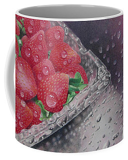 Coffee Mug featuring the painting Strawberry Splash by Pamela Clements