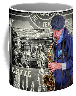 Coffee Mug featuring the photograph Street Musician At Starbucks by Spencer McDonald