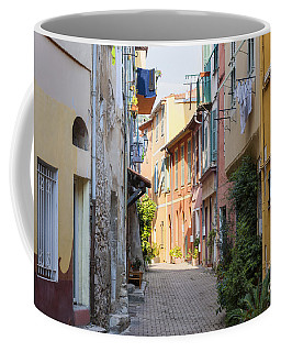 Street With Sunshine In Villefranche-sur-mer Coffee Mug