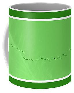 String Of Birds In Green Coffee Mug