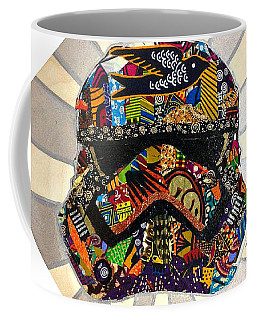 Coffee Mug featuring the tapestry - textile Strom Trooper Afrofuturist  by Apanaki Temitayo M
