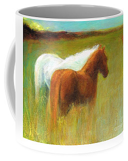 Coffee Mug featuring the painting Study Of Two Ponies by Frances Marino
