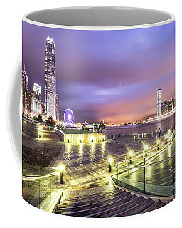 Stunning Night View Of The Famous Hong Kong Island Skyline And V Coffee Mug
