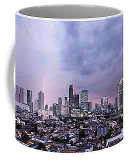 Stunning Sunset Over Jakarta, Indonesia Capital City Coffee Mug
