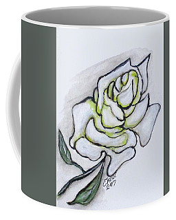 Coffee Mug featuring the painting Stunning White Rose by Clyde J Kell