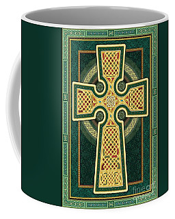 Stylized Celtic Cross In Green Coffee Mug