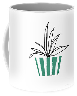 Coffee Mug featuring the mixed media Succulent In Green Pot 3- Art By Linda Woods by Linda Woods