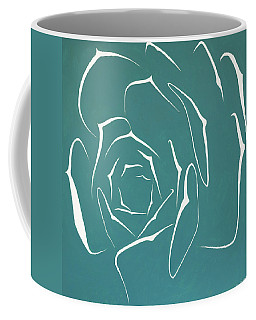 Coffee Mug featuring the painting Succulent In Turquoise by Ben Gertsberg