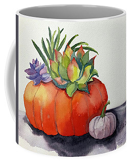 Succulents In Pumpkin Coffee Mug
