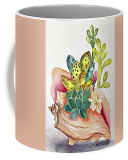 Succulents In Shell Coffee Mug