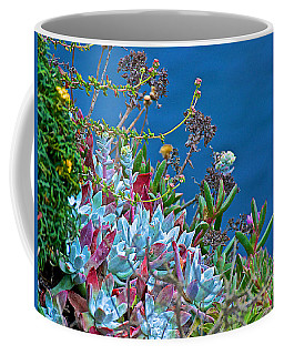 Succulents Over The Pacific Ocean In Point Lobos State Reserve Near Monterey-california  Coffee Mug