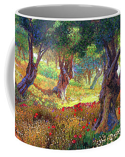 Tranquil Grove Of Poppies And Olive Trees Coffee Mug by Jane Small