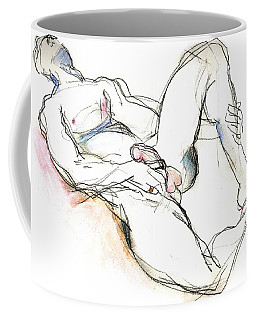 Coffee Mug featuring the mixed media Suffering Is Optional - Male Nude  by Carolyn Weltman