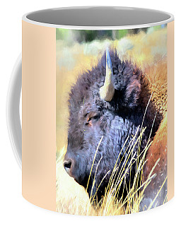 Summer Dozing - Buffalo Coffee Mug by Greg Sigrist