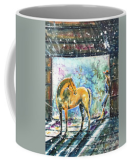 Coffee Mug featuring the painting Summer Morning At The Barn by Zaira Dzhaubaeva