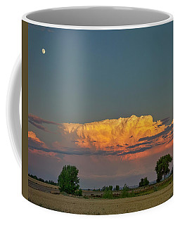 Coffee Mug featuring the photograph Summer Night Storms Brewing And Moon Above by James BO Insogna