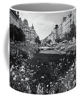 Coffee Mug featuring the photograph Summer Prague. Black And White by Jenny Rainbow