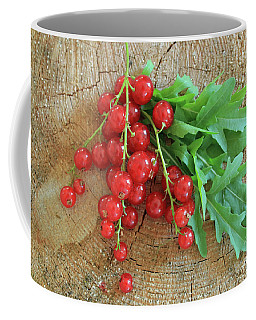 Summer, Red Berries And Rucola On Wooden Board Coffee Mug