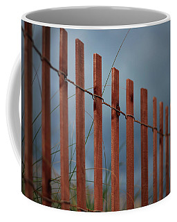 Coffee Mug featuring the photograph Summer Storm Beach Fence by Laura Fasulo