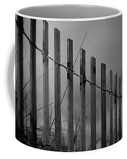 Coffee Mug featuring the photograph Summer Storm Beach Fence Mono by Laura Fasulo