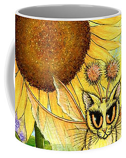 Coffee Mug featuring the painting Summer Sunshine Fairy Cat by Carrie Hawks