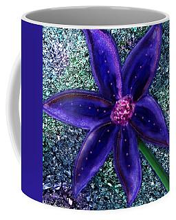 Coffee Mug featuring the digital art Summer's Blue Flower by Iowan Stone-Flowers