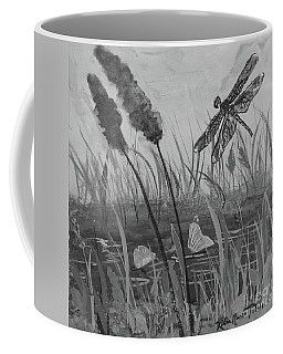 Coffee Mug featuring the painting Summertime Dragonfly Black And White by Robin Maria Pedrero