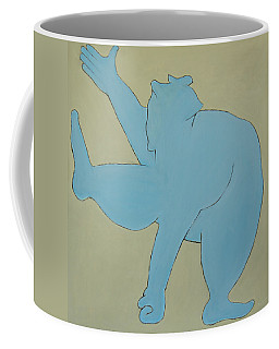 Coffee Mug featuring the painting Sumo Wrestler In Blue by Ben Gertsberg