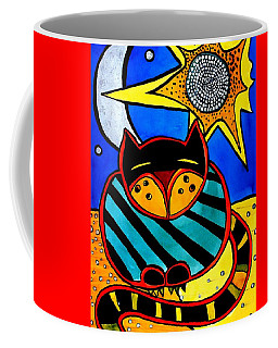Sun And Moon - Honourable Cat - Art By Dora Hathazi Mendes Coffee Mug