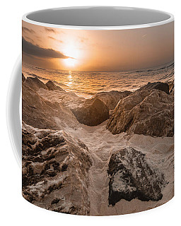 Sun Coming Over The Rocks  Coffee Mug