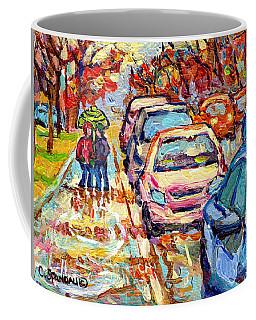 Sun Peeking Through April Showers Verdun Rainy Day Painting Canadian Street Scene C Spandau Quebec  Coffee Mug