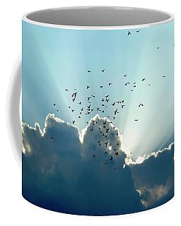 Coffee Mug featuring the photograph Sun Ray Aerobatics Blue Sky by Carolyn Marshall
