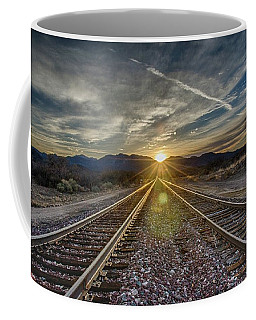 Sun Sets At The End Of The Line Coffee Mug