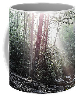 Sunbeam Streaming Into The Forest Coffee Mug