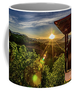 Sunburst View From Dellas Boutique Hotel Near Meteora In Kastraki, Kalambaka, Greece Coffee Mug