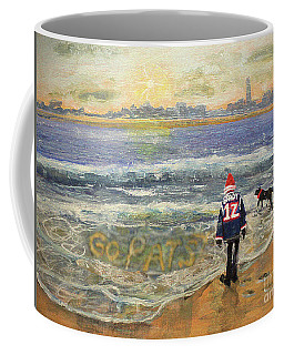 Coffee Mug featuring the painting Sunday Morning Game Day by Rita Brown