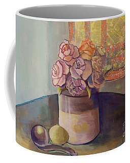 Sunday Morning Roses Through The Looking Glass Coffee Mug by Marlene Book