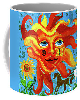 Sunface With Butterfly And Horse Coffee Mug by Genevieve Esson