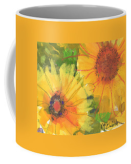 Big Sunflowers Watercolor And Pastel Painting Sf018 By Kmcelwaine Coffee Mug