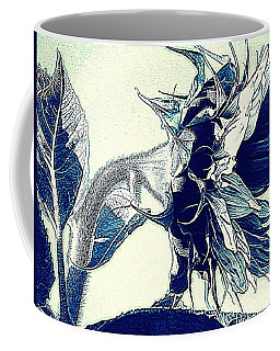 Sunflower - China Blue On White  Coffee Mug